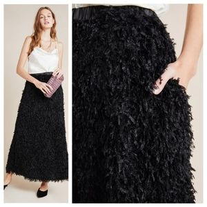 🆕 Anthropologie Chantal Feathered Maxi Skirt
